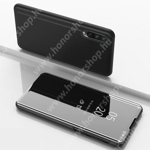 Notesz / flip tok - FEKETE - oldalra nyíló áttetsző tükrös flip cover, asztali tartó funkció, műanyag belső - Xiaomi Mi 9 Lite / Xiaomi Mi CC9