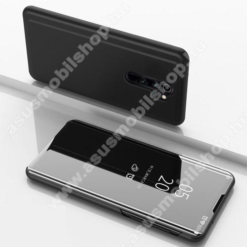 Notesz / flip tok - FEKETE - oldalra nyíló áttetsző tükrös flip cover, asztali tartó funkció, műanyag belső - Xiaomi Redmi Note 8 Pro
