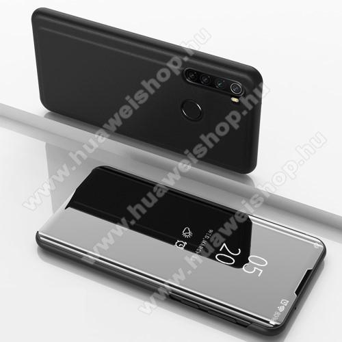 Notesz / flip tok - FEKETE - oldalra nyíló áttetsző tükrös flip cover, asztali tartó funkció, műanyag belső - Xiaomi Redmi Note 8
