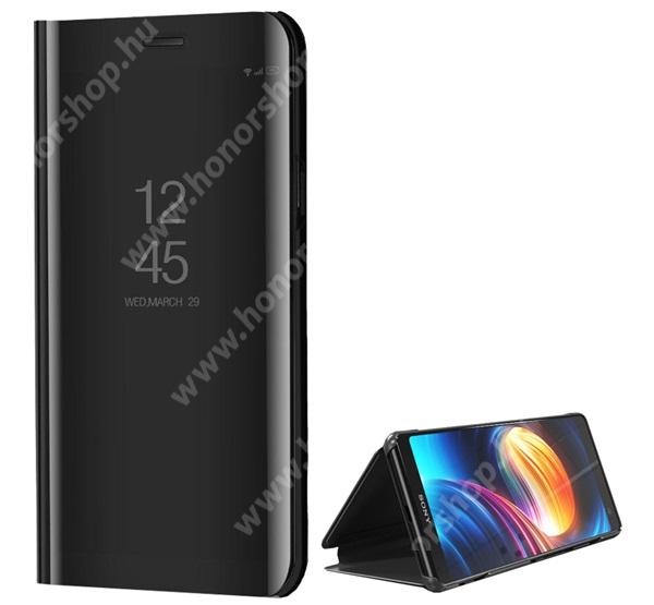 Notesz / flip tok - FEKETE - oldalra nyíló áttetsző tükrös flip cover, asztali tartó funkció, műanyag belső - Sony Xperia XZ3 (H9436)