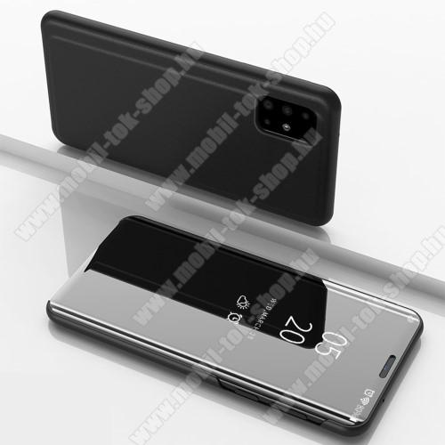 Notesz / flip tok - FEKETE - oldalra nyíló áttetsző tükrös flip cover, asztali tartó funkció, műanyag belső - SAMSUNG Galaxy A51 (SM-A515F)