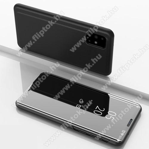 Notesz / flip tok - FEKETE - oldalra nyíló áttetsző tükrös flip cover, asztali tartó funkció, műanyag belső - SAMSUNG SM-A715F Galaxy A71
