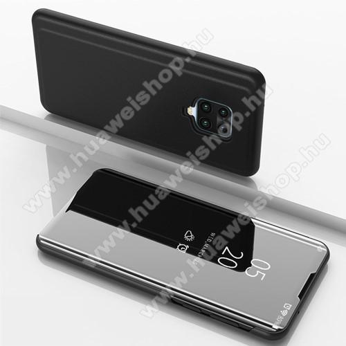 Notesz / flip tok - FEKETE - oldalra nyíló áttetsző tükrös flip cover, asztali tartó funkció, műanyag belső - Xiaomi Redmi Note 9S / Redmi Note 9 Pro / Redmi Note 9 Pro Max / Poco M2 Pro