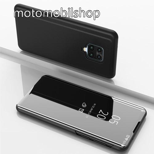 Notesz / flip tok - FEKETE - oldalra nyíló áttetsző tükrös flip cover, asztali tartó funkció, műanyag belső - Xiaomi Redmi Note 9S / Xiaomi Redmi Note 9 Pro / Xiaomi Redmi Note 9 Pro Max