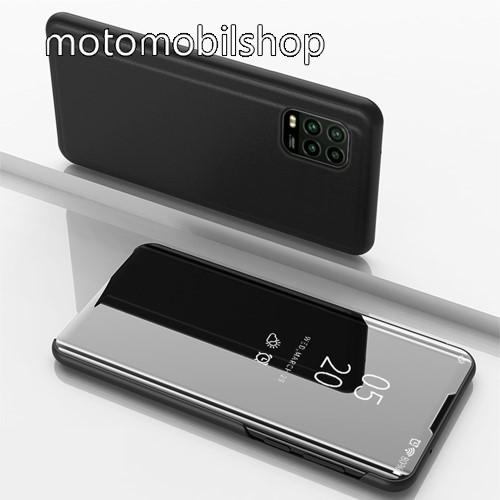 Notesz / flip tok - FEKETE - oldalra nyíló áttetsző tükrös flip cover, asztali tartó funkció, műanyag belső - Xiaomi Mi 10 Lite 5G / Xiaomi Mi 10 Youth 5G / Xiaomi Mi 10 Lite Zoom