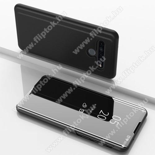 Notesz / flip tok - FEKETE - oldalra nyíló áttetsző tükrös flip cover, asztali tartó funkció, műanyag belső - LG K61