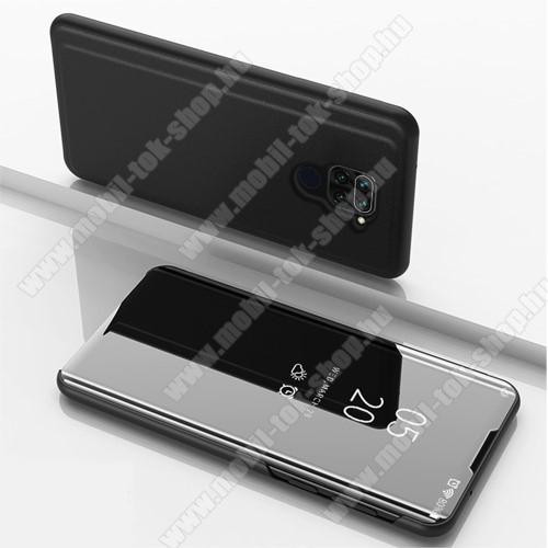 Notesz / flip tok - FEKETE - oldalra nyíló áttetsző tükrös flip cover, asztali tartó funkció, műanyag belső - Xiaomi Redmi Note 9 / Xiaomi Redmi 10X 4G