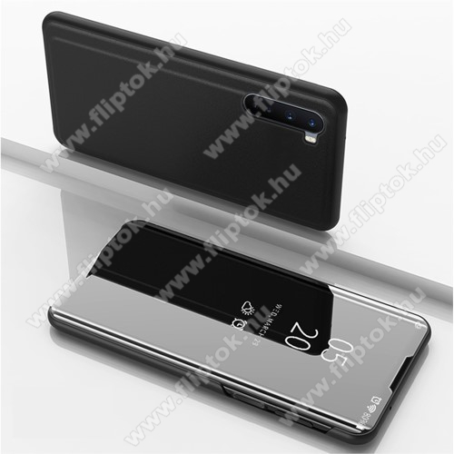 Notesz / flip tok - FEKETE - oldalra nyíló áttetsző tükrös flip cover, asztali tartó funkció, műanyag belső - OnePlus Nord
