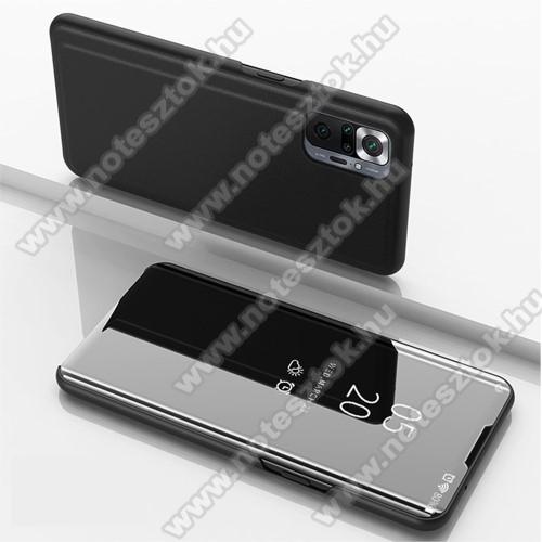 Notesz / flip tok - FEKETE - oldalra nyíló áttetsző tükrös flip cover, asztali tartó funkció, műanyag belső - Xiaomi Redmi Note 10 Pro / Redmi Note 10 Pro Max