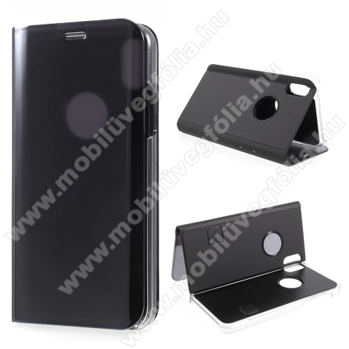Notesz / flip tok - FEKETE - oldalra nyíló áttetsző flip cover, asztali tartó funkció - APPLE iPhone X / APPLE iPhone XS
