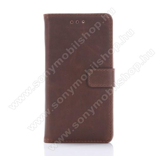 Notesz / flip tok - KÁVÉBARNA - oldalra nyíló, rejtett mágneses, álló, asztali tartó funkció, bankkártya tartó - Sony Xperia X Compact (F5321)