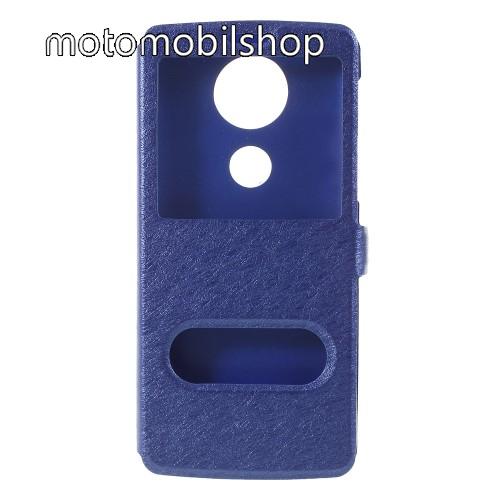 Notesz / flip tok - KÉK - oldalra nyíló ablakos flip cover, asztali tartó funkció, mágneses záródás, hívásfelvétel - MOTOROLA Moto E5 Plus (2018)