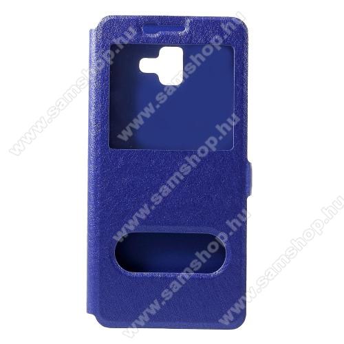 Notesz / flip tok - KÉK - oldalra nyíló ablakos flip cover, asztali tartó funkció, mágneses záródás, hívásfelvétel, műanyag belső - SAMSUNG SM-J610F Galaxy J6+