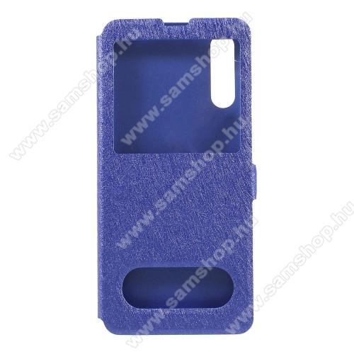 Notesz / flip tok - KÉK - oldalra nyíló ablakos flip cover, asztali tartó funkció, mágneses záródás, hívásfelvétel, műanyag belső - SAMSUNG SM-A307F Galaxy A30s / SAMSUNG SM-A505F Galaxy A50 / SAMSUNG Galaxy A50s