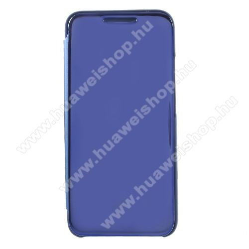 Notesz / flip tok - KÉK - oldalra nyíló áttetsző tükrös flip cover, asztali tartó funkció, műanyag belső - HUAWEI Mate 20 Lite / HUAWEI Maimang 7