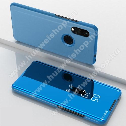 Notesz / flip tok - KÉK - oldalra nyíló áttetsző tükrös flip cover, asztali tartó funkció, műanyag belső - Xiaomi Redmi 7 / Xiaomi Redmi Y3