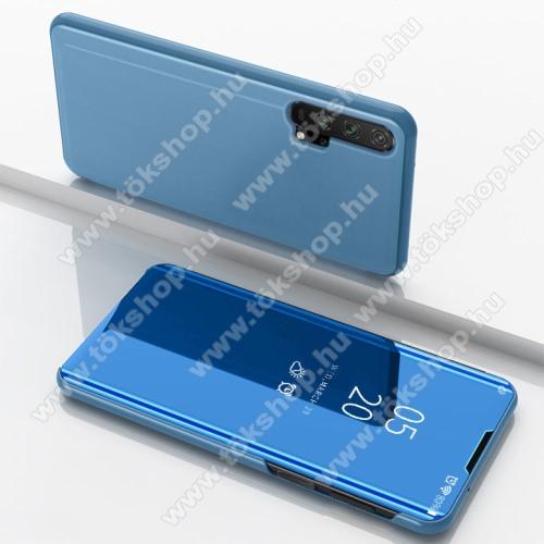 Notesz / flip tok - KÉK - oldalra nyíló áttetsző tükrös flip cover, asztali tartó funkció, műanyag belső - HUAWEI Honor 20 Pro