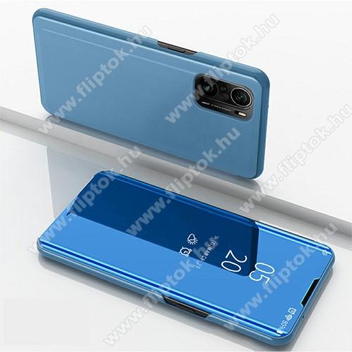 Notesz / flip tok - KÉK - oldalra nyíló áttetsző tükrös flip cover, asztali tartó funkció, műanyag belső - Xiaomi Redmi K40 / Redmi K40 Pro / Redmi K40 Pro Plus / Mi 11i / Poco F3