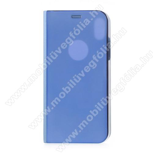 Notesz / flip tok - KÉK - oldalra nyíló áttetsző flip cover, asztali tartó funkció - APPLE iPhone X / APPLE iPhone XS