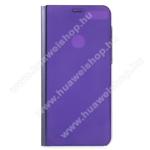 Notesz / flip tok - LILA - oldalra nyíló áttetsző tükrös flip cover, asztali tartó funkció, műanyag belső - HUAWEI Honor 7C (2018) / HUAWEI Enjoy 8 (2018) / HUAWEI Y7 Prime (2018)