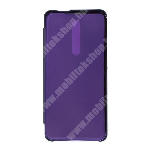 Notesz / flip tok - LILA - oldalra nyíló áttetsző tükrös flip cover, asztali tartó funkció, műanyag belső - Xiaomi Redmi K20 / Xiaomi Redmi K20 Pro / Xiaomi Mi 9T Pro / Xiaomi Mi 9T