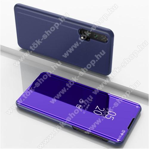 Notesz / flip tok - LILA - oldalra nyíló áttetsző tükrös flip cover, asztali tartó funkció, műanyag belső - HUAWEI Honor 20 Pro