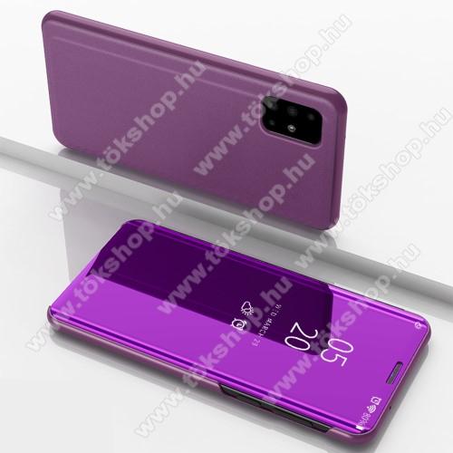 Notesz / flip tok - LILA - oldalra nyíló áttetsző tükrös flip cover, asztali tartó funkció, műanyag belső - SAMSUNG Galaxy A51 (SM-A515F)