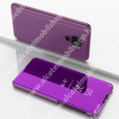 Notesz / flip tok - LILA - oldalra nyíló áttetsző tükrös flip cover, asztali tartó funkció, műanyag belső - Xiaomi Redmi Note 9 / Xiaomi Redmi 10X 4G