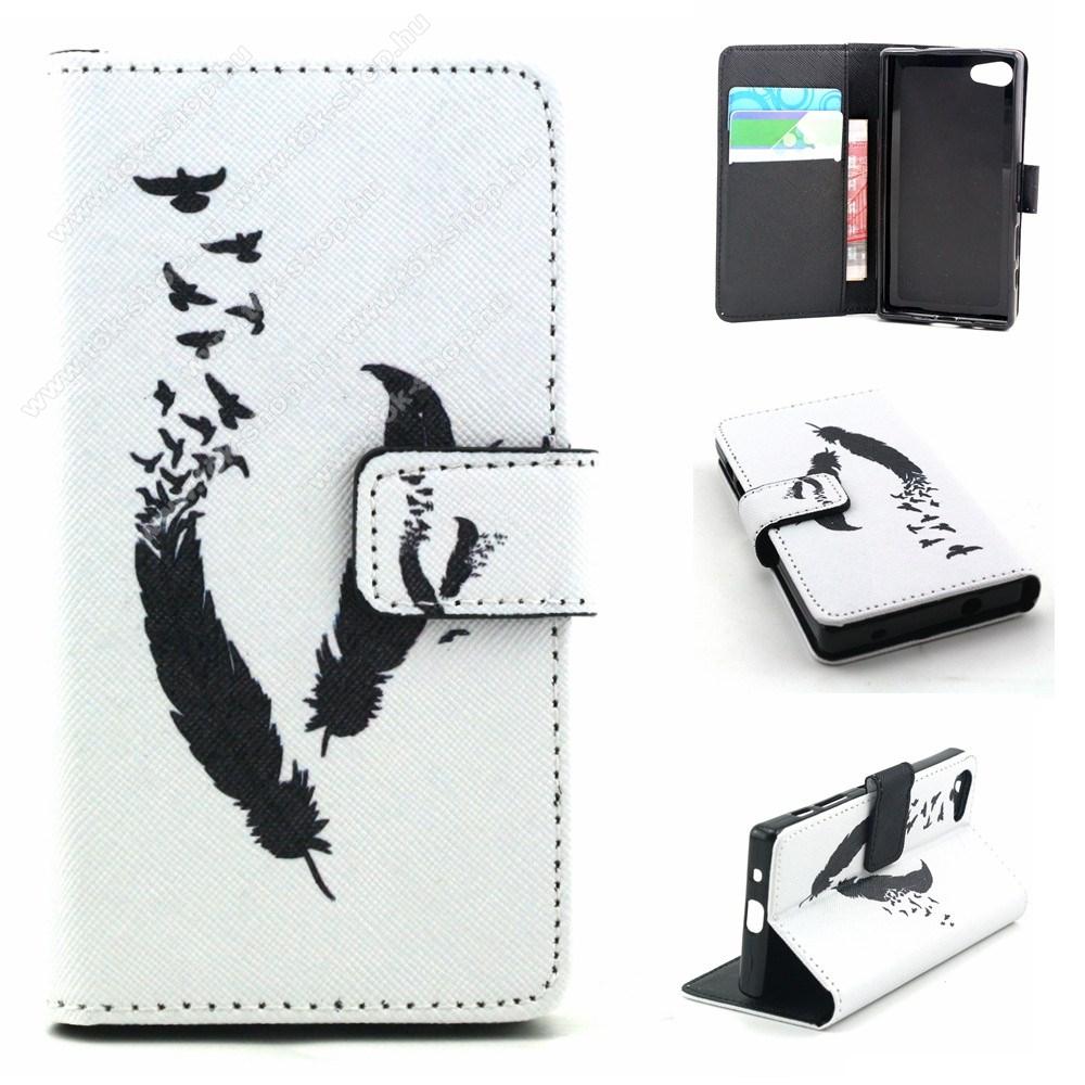 Notesz / flip tok - MADÁRTOLL MINTÁS - oldalra nyíló, asztali tartó funkció, bankkártya tartó zseb, szilikon belső - FEHÉR / FEKETE - SONY Xperia Z5 Compact