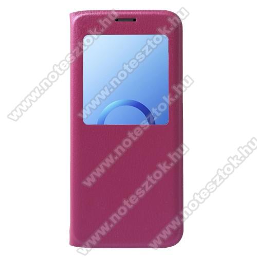 Notesz / flip tok - MAGENTA - oldalra nyíló ablakos flip cover, műanyag belső - SAMSUNG SM-G960 Galaxy S9