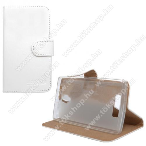 Notesz / flip tok - oldalra nyíló, asztali tartó funkció, rejtett mágneses záródás, szilikon belső rész - FEHÉR - Lenovo A2010