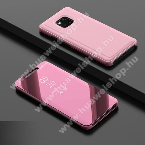 Notesz / flip tok - ROSE GOLD - oldalra nyíló áttetsző tükrös flip cover, asztali tartó funkció, műanyag belső - HUAWEI Mate 20 Pro