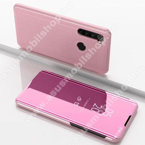 Notesz / flip tok - ROSE GOLD - oldalra nyíló áttetsző tükrös flip cover, asztali tartó funkció, műanyag belső - Xiaomi Redmi Note 8