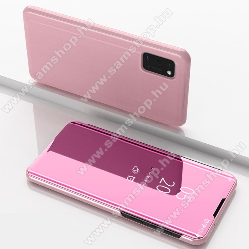 Notesz / flip tok - ROSE GOLD - oldalra nyíló áttetsző tükrös flip cover, asztali tartó funkció, műanyag belső - SAMSUNG Galaxy A41 (SM-A415F)