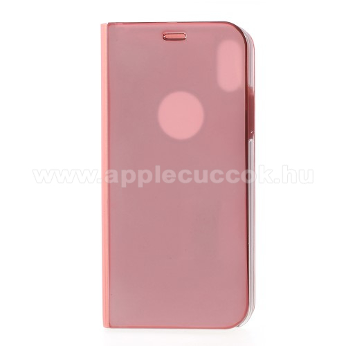 Notesz / flip tok - ROSE GOLD - oldalra nyíló áttetsző flip cover, asztali tartó funkció - APPLE iPhone X / APPLE iPhone XS