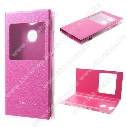 Notesz / flip tok - RÓZSASZÍN - oldalra nyíló ablakos flip cover, műanyag belső - SONY Xperia XA2