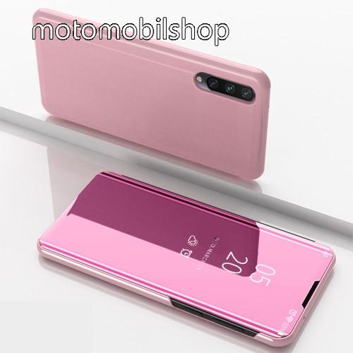 Notesz / flip tok - RÓZSASZÍN - oldalra nyíló áttetsző tükrös flip cover, asztali tartó funkció, műanyag belső - Xiaomi Mi 9 Lite / Xiaomi Mi CC9