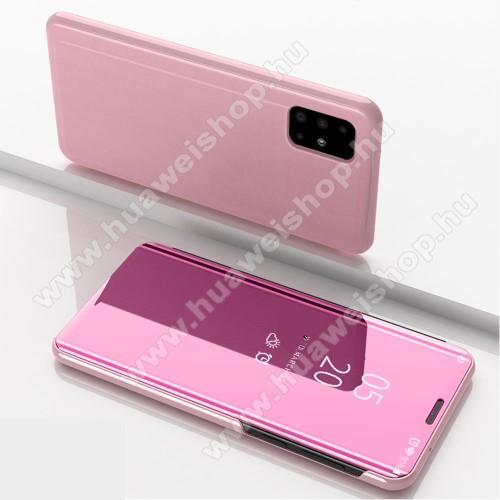 Notesz / flip tok - RÓZSASZÍN - oldalra nyíló áttetsző tükrös flip cover, asztali tartó funkció, műanyag belső - SAMSUNG SM-A715F Galaxy A71