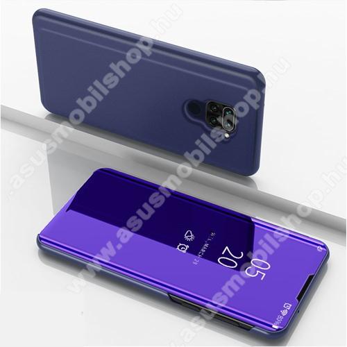 Notesz / flip tok - SÖTÉTKÉK - oldalra nyíló áttetsző tükrös flip cover, asztali tartó funkció, műanyag belső - Xiaomi Redmi Note 9 / Xiaomi Redmi 10X 4G