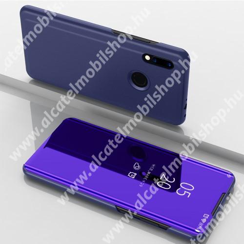 Notesz / flip tok - SÖTÉTLILA - oldalra nyíló áttetsző tükrös flip cover, asztali tartó funkció, műanyag belső - Xiaomi Redmi Note 7 / Xiaomi Redmi Note 7 Pro / Xiaomi Redmi Note 7S