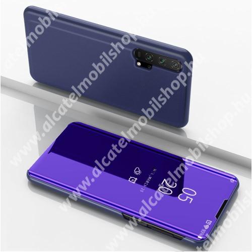 Notesz / flip tok - SÖTÉTLILA - oldalra nyíló áttetsző tükrös flip cover, asztali tartó funkció, műanyag belső - HUAWEI Honor 20 / HUAWEI Honor 20S / HUAWEI nova 5T / HUAWEI Honor 20 Pro