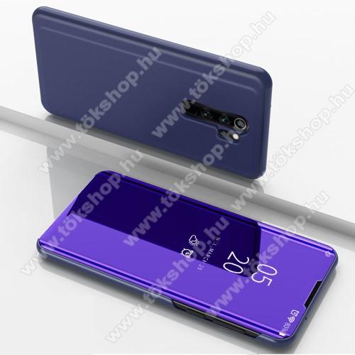 Notesz / flip tok - SÖTÉTLILA - oldalra nyíló áttetsző tükrös flip cover, asztali tartó funkció, műanyag belső - Xiaomi Redmi Note 8 Pro