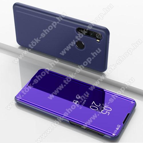 Notesz / flip tok - SÖTÉTLILA - oldalra nyíló áttetsző tükrös flip cover, asztali tartó funkció, műanyag belső - Xiaomi Redmi Note 8