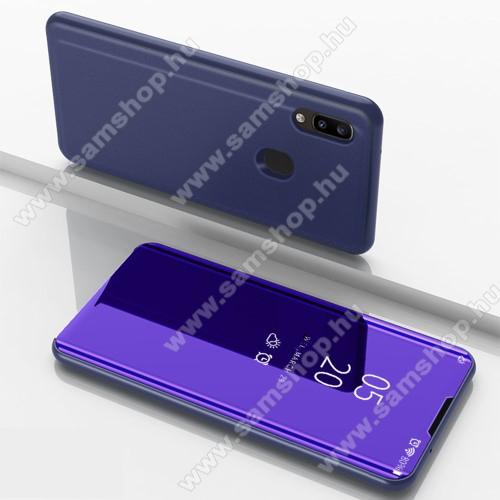 Notesz / flip tok - SÖTÉTLILA - oldalra nyíló áttetsző tükrös flip cover, asztali tartó funkció, műanyag belső - SAMSUNG Galaxy A31 (SM-A315F)