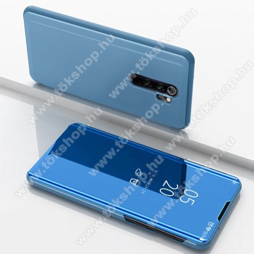Notesz / flip tok - VILÁGOSKÉK - oldalra nyíló áttetsző tükrös flip cover, asztali tartó funkció, műanyag belső - Xiaomi Redmi Note 8 Pro