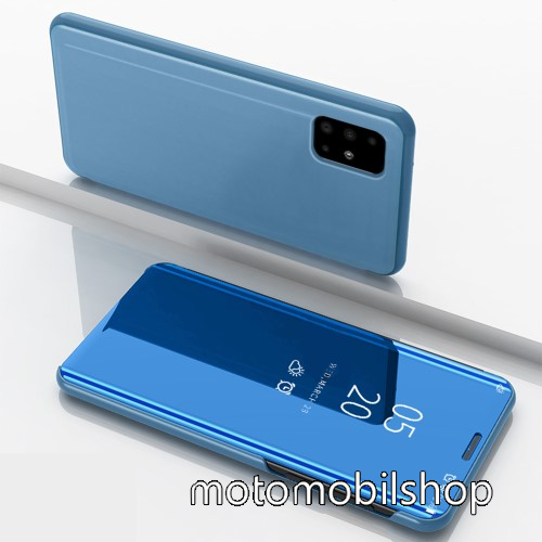 Notesz / flip tok - VILÁGOSKÉK - oldalra nyíló áttetsző tükrös flip cover, asztali tartó funkció, műanyag belső - SAMSUNG Galaxy A51 (SM-A515F)