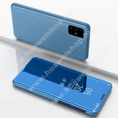 Notesz / flip tok - VILÁGOSKÉK - oldalra nyíló áttetsző tükrös flip cover, asztali tartó funkció, műanyag belső - SAMSUNG SM-A715F Galaxy A71