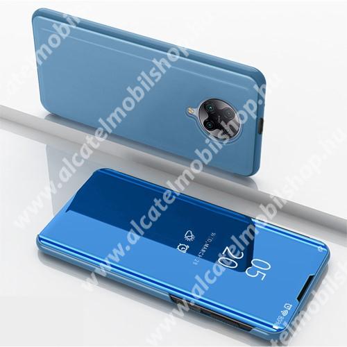 Notesz / flip tok - VILÁGOSKÉK - oldalra nyíló áttetsző tükrös flip cover, asztali tartó funkció, műanyag belső - Xiaomi Redmi K30 Pro / Xiaomi Redmi K30 Pro Zoom / Xiaomi Poco F2 Pro