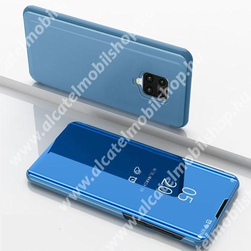 Notesz / flip tok - VILÁGOSKÉK - oldalra nyíló áttetsző tükrös flip cover, asztali tartó funkció, műanyag belső - Xiaomi Redmi Note 9S / Xiaomi Redmi Note 9 Pro / Xiaomi Redmi Note 9 Pro Max