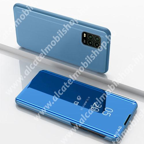 Notesz / flip tok - VILÁGOSKÉK - oldalra nyíló áttetsző tükrös flip cover, asztali tartó funkció, műanyag belső - Xiaomi Mi 10 Lite 5G / Xiaomi Mi 10 Youth 5G / Xiaomi Mi 10 Lite Zoom